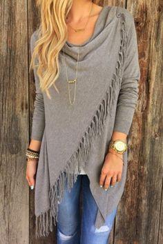 Charming Gray Tassel Hem Asymmetric Loose T-Shirt For Women T-Shirts | RoseGal.com Mobile