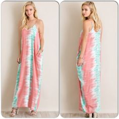 Tie Dye Parachute Dress Coming Soon This fun maxi dress has a comfortable, lightweight parachute style. Features side pockets, and adjustable shoulder straps. 100% rayon. Fully lined, so it is not see through. Coral and blue in color. Since this is retail, it does not come with tags. Available in S,M,L. More pics and specs upon arrival. Will be listed at $48, once it arrives. Dresses Maxi