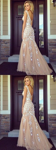A-line backless Lace Prom Dresses, Lace Evening Dress, M1267#prom #promdress #promdresses #longpromdress #promgowns #promgown #2018style #newfashion #newstyles #2018newprom #eveninggown #backless #lacepromdress #tulle