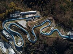 TOPSHOT - An aerial photo shows a general view of the bobsleigh and luge venues of the Pyeongchang 2018 Winter Olympic games in Pyeongchang on October / AFP PHOTO / Ed JONES (Photo credit should read ED JONES/AFP/Getty Images) Nordic Combined, Photo Ed, 2018 Winter Olympic Games, Bobsleigh, Freestyle Skiing, Pyeongchang 2018 Winter Olympics, Olympic Weightlifting, Ski Jumping, Luge