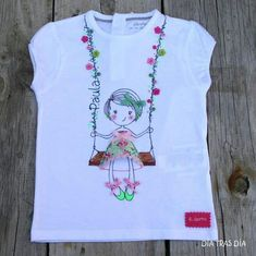 T-shirt Embroidery Kids New Ideas Shirt Embroidery, Hand Embroidery Stitches, Hand Embroidery Designs, T Shirt Painting, Fabric Painting, Painted Clothes, Embroidered Clothes, Necklines For Dresses, Baby Kind