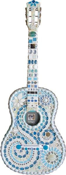 Acoustic Guitar Blue and White Front Guitar Art, Acoustic Guitar, Stone Sculpture, Sculpture Art, Mosaic Art, Mosaic Glass, Bicycle Bell, Mosaic Madness, Blue Roses