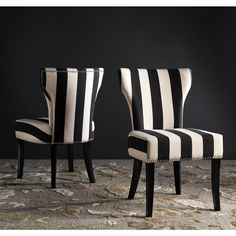 Safavieh En Vogue Dining Matty Black and White Striped Side Chairs (Set of - 17983089 - Overstock - Great Deals on Safavieh Dining Chairs - Mobile Striped Dining Chairs, Striped Chair, Dining Chair Set, Dining Room Chairs, Side Chairs, Accent Chairs, Office Chairs, Lounge Chairs, Desk Chairs