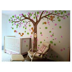 De Muursticker boom vallende blaadjes bevat:- 1 boom (kies 1 kleur)- blaadjes (kies 2 kleuren)- vogels, eekhoorns en uil (kies 1 kleur)- Teststicker- Plakinstructies- 1 schoolbordmuursticker kalender (kies 1 kleur)- Teststicker- Plakinstructies(Typ je kleurkeuze in het textvlak onderaan)Afmetingen: 3m30 B x 2m2 H