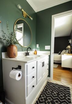 Moody Modern Boho Master Bedroom Progress: Black Walls - Home Decor Modern Boho Master Bedroom, Modern Boho Bathroom, Bedroom Black, Modern Bathroom Paint, Green Master Bedroom, Small Bathroom Paint Colors, Contemporary Bedroom, Master Bedrooms, Neutral Bathroom Colors