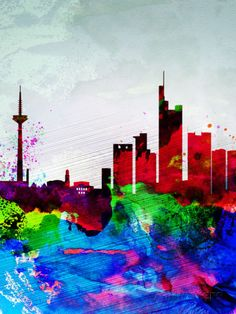 Frankfurt Watercolor Skyline Signes en plastique rigide par NaxArt sur AllPosters.fr