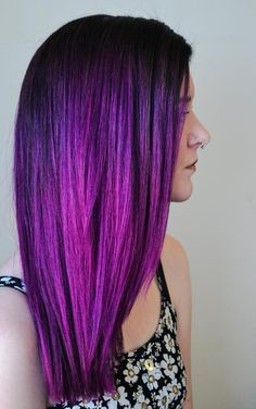 Ombre Hair Purple   Brown To Vivid Purple Ombre