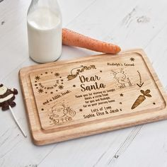 Santa Treat Plate / Board - The Laser Boutique Diy Christmas Gifts For Family, Handmade Christmas Gifts, Christmas Wood, The Night Before Christmas, Homemade Christmas, Christmas Eve, Christmas Crafts, Trotec Laser, Laser Cut Wood