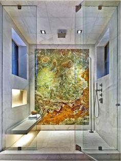 Green onyx bathroom; green onyx shower room; łazienka z zielonego onyksu, zielony onyks w łazience; kabina prysznicowa z zielonym onyksem; zielony onyks w kabinie prysznicowej;