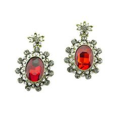 Ruby statement earrings faceted oval stone earrings red by eBijoux, $6.99