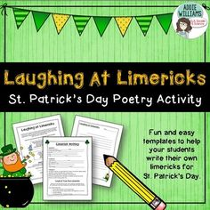 St.+Patrick's+Day+Limericks!+FREE+and+fun+templates+for+students+to+complete+limericks+for+St.+Patrick's+Day!++Includes+limerick+information+sheet,+limerick+templates+and+writing+paper+with+room+for+two+limericks.This+product+is+also+found+in+my+St.+Patricks+Day+Bundleclick+the+link+below+to+see+whats+included!St.