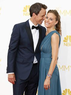 Host Seth Meyers is cool, calm and collected as he nuzzles wife Alexi Ashe before the big show.