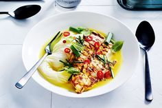 """""""The turmeric broth in this dish aids digestion and is big on flavour so it's a win win. This is my healthy go-to dinner,"""" says Christine Manfield, who uses chicken breasts in her warming recipe."""
