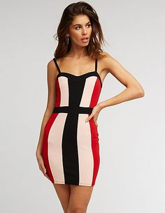 029eba5783 Colorblock Sweetheart Bodycon Dress