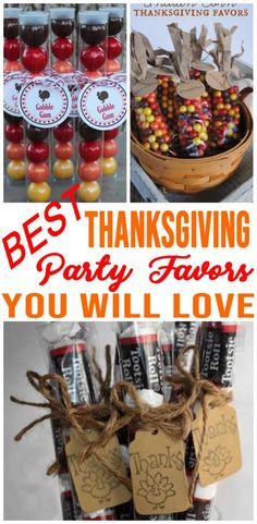 Thanksgiving party favor ideas that are easy and fun! Goodie bags, DIY ideas, party favor bags and more. BEST Thanksgiving party favors for kids and adults great for table setting ideas too! Fall Party Favors, Party Favors For Adults, Party Favor Bags, Goodie Bags, Wedding Favors, Thanksgiving Favors, Thanksgiving Blessings, Thanksgiving Parties, Thanksgiving Prayer