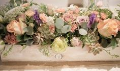 Stunning vintage main table large floral piece done in a white washed wooden box - Hertford  Country Hotel, Johannesburg. Floral Design & Decor  by www.pinkenergyfloraldesign.co.za Country Hotel, Bridal Table, Wooden Boxes, Floral Design, Floral Wreath, Pretoria, Wreaths, Pink, Tables
