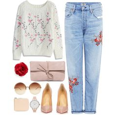 Flowers by cowseatchard on Polyvore featuring Chicwish, Citizens of Humanity, Christian Louboutin, LULUS, Sagan, Cara, Olivia Burton and Linda Farrow
