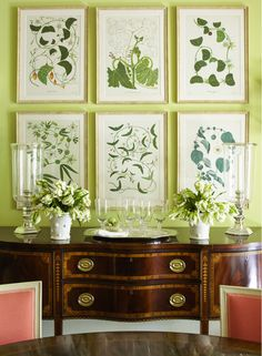 Greenery, Pantone 2017 color for interior decoration Green Dining Room, Green Rooms, White Rooms, Dining Rooms, Green Walls, Botanical Prints, House Painting, Wall Colors, Decoration