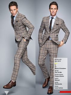 """bespokeredmayne Now he's a """"breakout"""" Eddie Redmayne déjà vu in GQ 2014 Man of The Year edition More plaid and another brolly is part of Eddie redmayne style - Mens Fashion Suits, Mens Suits, Business Casual Attire For Men, Plaid Suit, Eddie Redmayne, Gq Style, Dapper Gentleman, Sharp Dressed Man, Bermuda"""