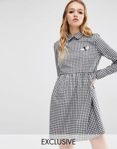 Image 1 ofReclaimed Vintage Gingham Dress With Bumblebee Patch