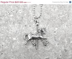 On Sale Carousel Horse Necklace Sterling by GirlBurkeStudios, $24.30