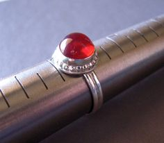 7 3/4 Sterling Ring Red Ring Argentium Ring German by jewelqueen, $30.00