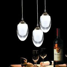 250mm Round 3Wx3 LED Light Egg-Shaped Chandelier Light Pendant Lamp for Living Room Bar Saloon Dining Room  – USD $ 89.99