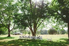Rachel and Chase's 16 guest reception under the beautiful pecan trees on their property.  Photos by Stephanie Kaloi. See more @intimateweddings.com #reception #backyardwedding #budgetwedding #reception