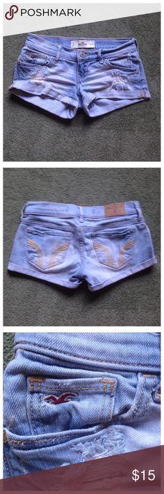 "Hollister Size 0 Destroyed Denim Jean Shorts Excellent condition; Across waist - 14"", Front rise - 6"", Inseam - 2.5""; Cotton, Elastane Hollister Shorts Jean Shorts"