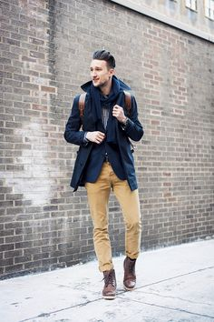 Blue, mustard and brown - Mode Homme - Man