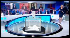 Onair graphics layout, virtual graphics and set backdrop animation design for Special news coverage of Greek Elections (mediocre video image quality… Tv Set Design, Adobe Premiere Pro, Video Image, New Set, Backdrops, Greece, Layout, Graphics, Graphic Design