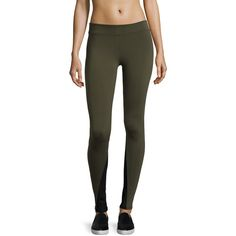 Solow Contrast-Inseam Leggings ($41) ❤ liked on Polyvore featuring pants, leggings, army, solow, solow pants, solow leggings, wicking pants and army leggings