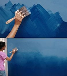 Adding the Ombre Effect to an accent wall is a great way to introduce your own personal color to a r&; Adding the Ombre Effect to an accent wall is a great way to introduce your own personal color to a […] ideas for walls Ombre Effect, Paint Effects, Room Colors, Paint Colors, Paint Designs, Painting Techniques, Diy Wall, Home Accents, Colorful Interiors