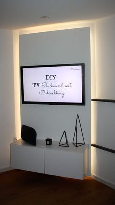 "How to build a TV back wall with ""Glow"" and kitchen cabinets yourself . How to build a TV back wall with ""Glow"" and kitchen cupboards yourself IKEA hack Update Kitchen Cabinets, Kitchen Cupboards, Studio Apartment Furniture, Bathroom Hacks, Bathroom Renovations, Small Bathroom, Diy Wand, Ikea Living Room, Diy Tv"