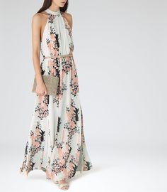 Summer Wedding Guest Outfit:  Reiss Arleta Women's Coral Floral-print Maxi Dress