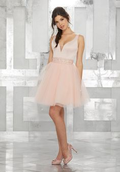 c3e5955809 Shop Morilee's V-Neck Satin Party Dress with Tulle Skirt and Beaded,  Embroidered Waistband. V-Neck Satin Party Dress with Tulle Skirt and Beaded,  ...