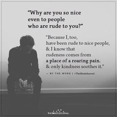 """Why are you so nice even to people who are rude to you?"""" """"Because I, too, have been rude to nice people & I know that rudeness comes from a place Life Quotes Love, Wisdom Quotes, True Quotes, Words Quotes, Quotes To Live By, Motivational Quotes, Inspirational Quotes, Nice People Quotes, Nice Person Quotes"""