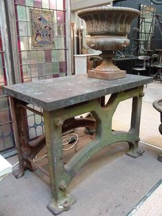1930 Vintage Industrial Work Table with Petite Granit Stone Top (actually a black limestone from Belgium and not a granite) $2480