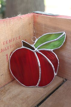 Bright Red Stained Glass Apple Window by glassgallerygirls on Etsy, $16.00