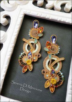 Motif Soutache, Soutache Necklace, Shibori, Gold Bridal Earrings, Beaded Earrings, Handmade Beaded Jewelry, Custom Jewelry, Fashion Earrings, Fashion Jewelry
