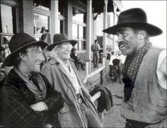Back To The Future 3 - A laugh between takes. Christopher Lloyd in the center and Tom Wilson on the right.