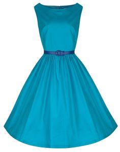 Lindy Bop 'Audrey' Delightful Vibrant Scuba Blue 50's Swing Dress at Amazon Women's Clothing store: