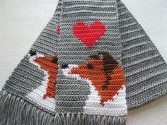 Sheltie Dog Scarf.  Grey scarf with Shetland Sheepdog by hooknsaw, $42.00