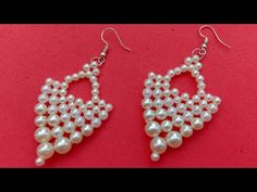 How to make//earrings//pearl earrings// useful & easy Making Bracelets With Beads, Diy Jewelry Making, Beaded Bracelets, Beaded Earrings Patterns, Bead Earrings, Diy Earrings With Beads, Diy Earrings Pearl, Earrings Online, Craft Ideas