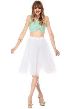 White Multi Tulle Midi Skirt