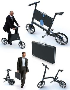 Folding bike with built-in briefcase