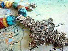 Dessta Necklace Coptic Cross India Bells Organic by pileofstones, $38.50