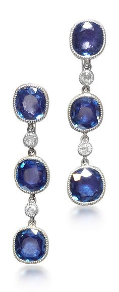 Black, Starr and Frost - A pair of Art Deco Sapphire and Diamond Ear Pendants, circa 1920.
