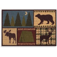 Lodge Camp Door Mat ($25) ❤ liked on Polyvore featuring home, outdoors, outdoor decor, outdoor mats, outdoor door mat, outdoor garden decor, outside door mats and outdoor welcome mats