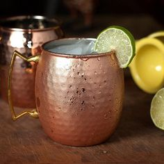 Hammered Drum Style Moscow Mule Mug Copper Rose Plated Stainless Steel Travel Coffee Mug Set (4 Pieces - 530ml)